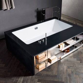 MY STYLE | Top and cladding in Corian Deep Nocturne and open rack in Stainless Steel