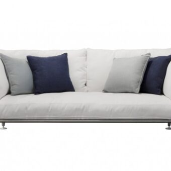 Satin stainless steel frames. Cushions padding in dryfeel polyurethane, removable fabric cover available in different colours
