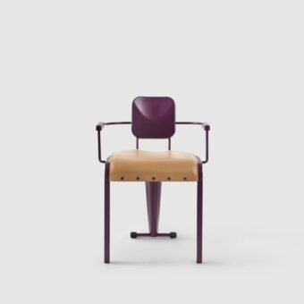ROCK CHAIR WITH ARMRESTS AND LEATHER SEAT