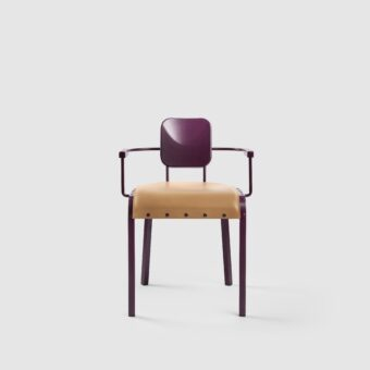 ROCK4 CHAIR WITH ARMRESTS AND LEATHER SEAT